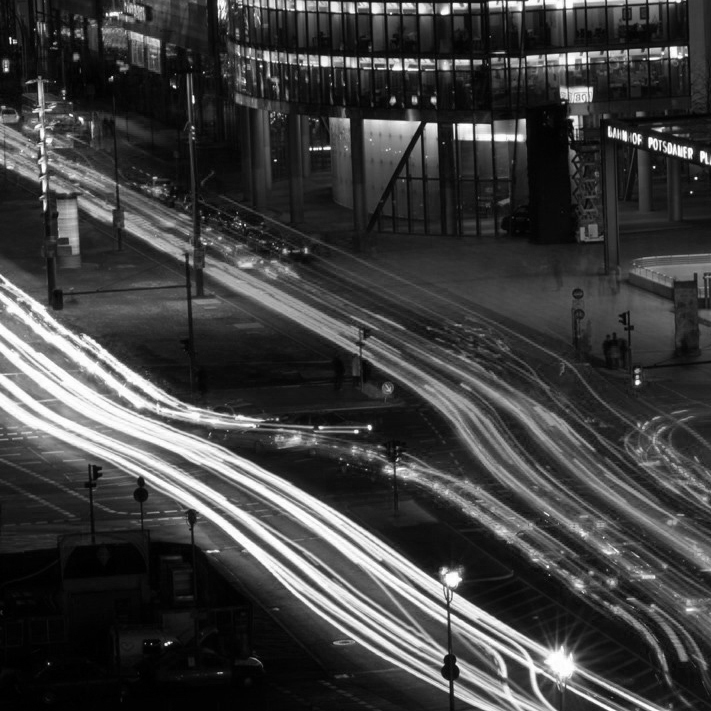 Cars driving at night on a highway in Berlin